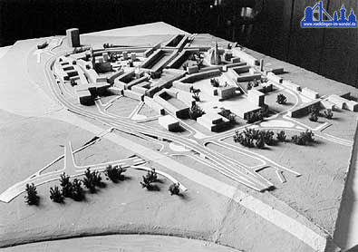 Modell der geplanten Südtangente ca. 1966 (Stadtarchiv)