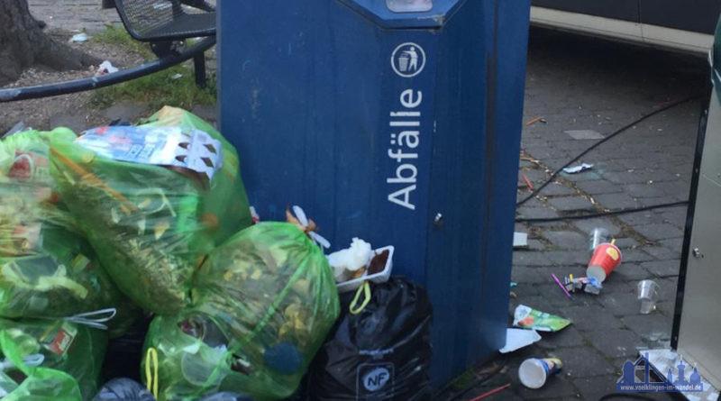 Volle Mülleimer verschandeln gerade an den Wochenenden das Stadtbild – die CDU Völklingen-Mitte fordert deswegen zusätzliche Leerungen. Quelle: CDU VK