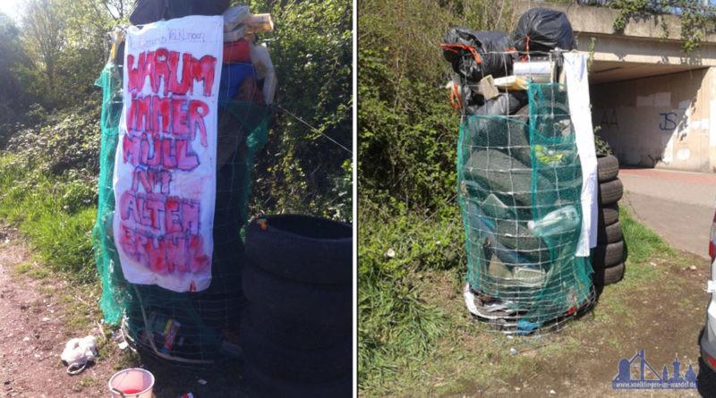 Müllsäule der AG Saubere Stadt - Foto: BI