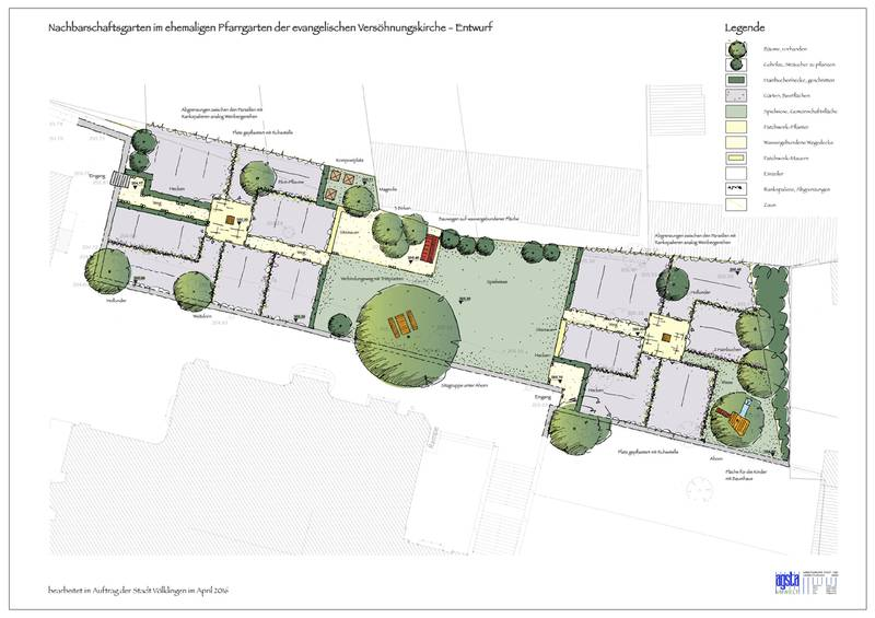 Planentwurf des Nachbarschaftsgartens (Grafik: Stadt VKL)