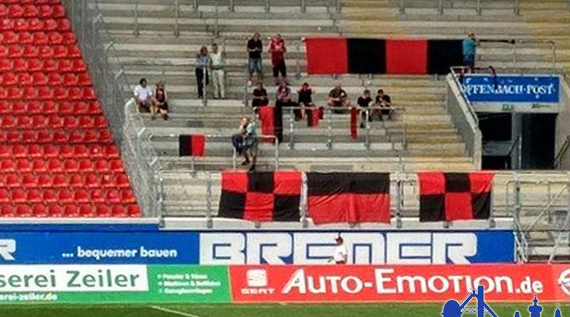 14 Fans hatten viel Platz im Offenbacher Gästeblock (Foto: Jörg Wunn)