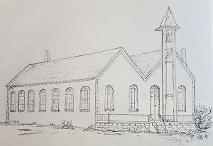 Eine Zeichnung von Oswald Poth der Notkirche Fenne