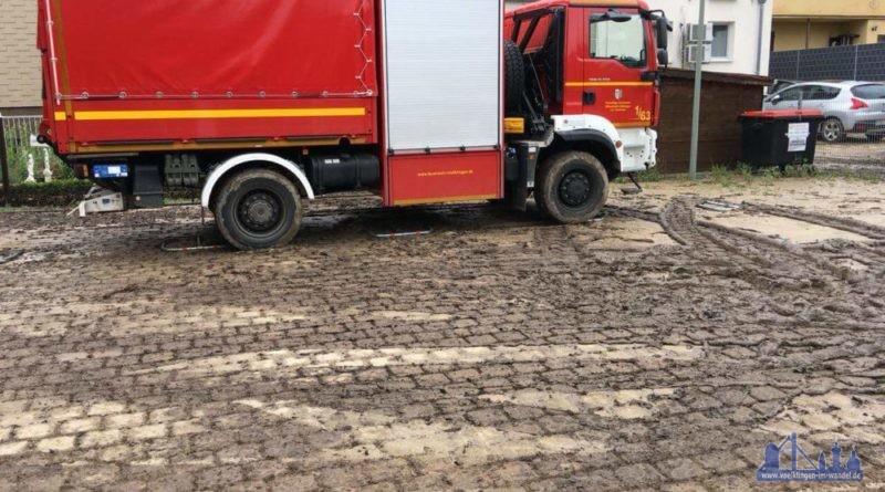 Die Feuerwehr Vöklingen half auch bei den Unwettereinsätzen (Foto: FFW Völklingen)