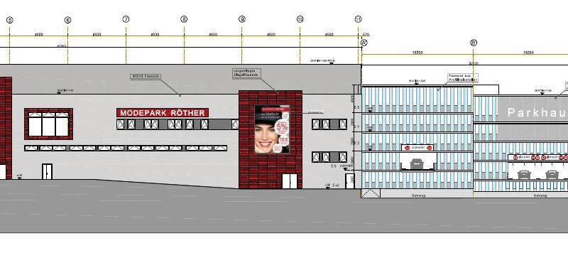 Ansicht des neuen Modeparks von der B51 gesehen (Grafik: Aus einer PM der Stadt Völklingen)