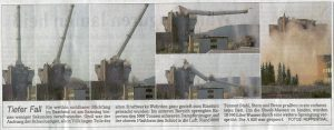 Sprengung des Kraftwerk-Schlotes (Auschnitt aus der Saarbrücker Zeitung)