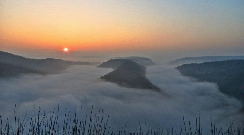 Die Saarschleife im dichten Morgennebel (Foto: W. Hoffmann)