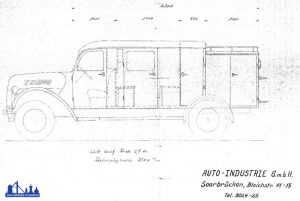 So hätte das Fahrzeug ausgesehen, hätte man es direkt bei Ford aufbauen lassen - das dazu vorliegende Angebot wurde bereits 1949 ausgeschlossen.