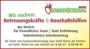 Stellenanzeige der Seniorenbetreuung Saar (Quelle: SBG Saar)