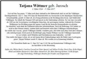 Todesanzeige Tatjana Wittmer geb. Jarosch (Quelle Facebook/Die Linke Völklingen)