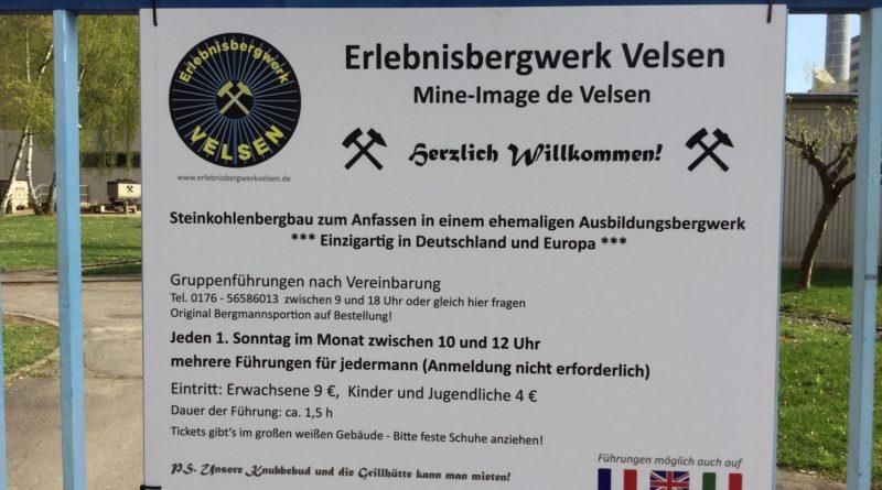 Eingang zum Gelände des Erlebnisbergwerks Velsen (FOTO: Manfred Klasen, DIE LINKE )