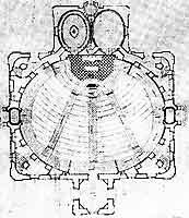 Der Grundriss des Erdgeschosses, die Kirche misst 31 mal 24 Meter, der an den 16,50 Meter hohen Hauptraum anschließende Turm misst 66 Meter.