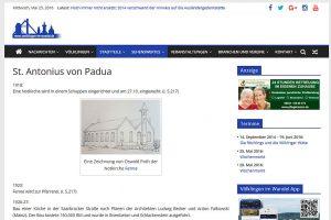 Neues Design, neuer Inhalt - hier die Informationsseite über die Kirche Sankt Antonius in Völklingen-Fenne