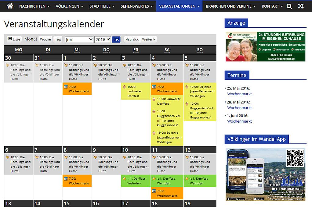 Nun ist es wirklich ein Kalender: Unsere Veranstaltungsübersicht wird ihrer Überschrift nun gerecht.