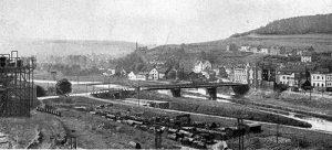 Die erste Saarbrücke zwischen Völklingen und Wehrden.